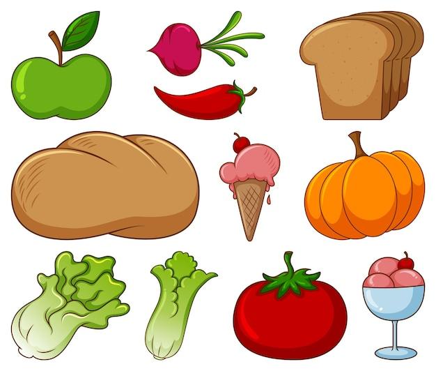 白い背景の上のさまざまな食品やその他のアイテムの大規模なセット