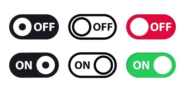 다른 스위치의 큰 세트를 끕니다. 켜기 및 끄기 전환 버튼 벡터 형식입니다. 모바일 앱, 소셜 미디어용 전환 슬라이드. 최신 장치 사용자 인터페이스 모형 또는 템플릿