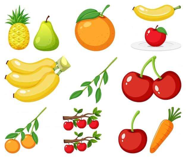 Большой набор разных видов фруктов