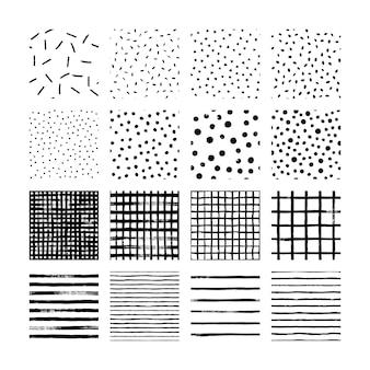 큰 손 세트는 브러시 패턴을 검정 흰색으로 그립니다. 점, 물방울 무늬, 격자, 줄무늬 및 파도의 벡터 텍스처 원활한 패턴입니다.