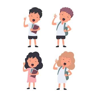 행복 한 학생의 큰 집합입니다. 십대들은 행복합니다. 학교 또는 휴가 디자인에 적합합니다. 외딴. 벡터.
