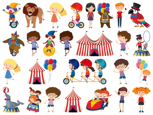 Большой набор изолированных предметов для детей и цирка