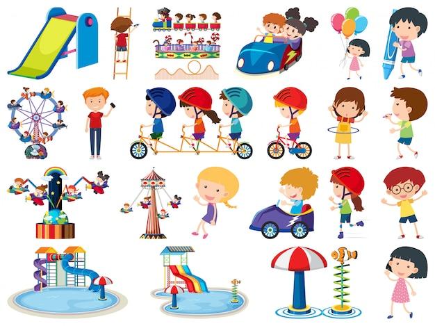 많은 어린이의 고립 된 개체의 큰 세트