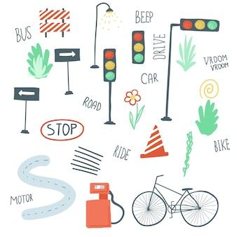 큰 세트의 도시 요소 평면 간단한 만화 스타일 손 그리기 자동차 도로 신호등 벡터