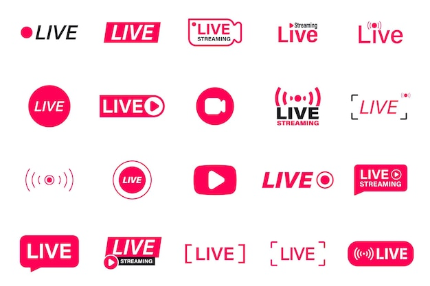 Large set of red live streaming icons. live stream, broadcast. live video streaming. social media live badge. online webinar, broadcasting. template for tv, shows, movies and live performances