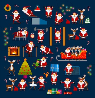 Large set of santa clauses in different poses for decoration for christmas and new year.