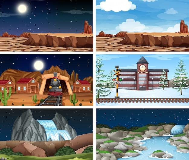 Large set of scenes or background