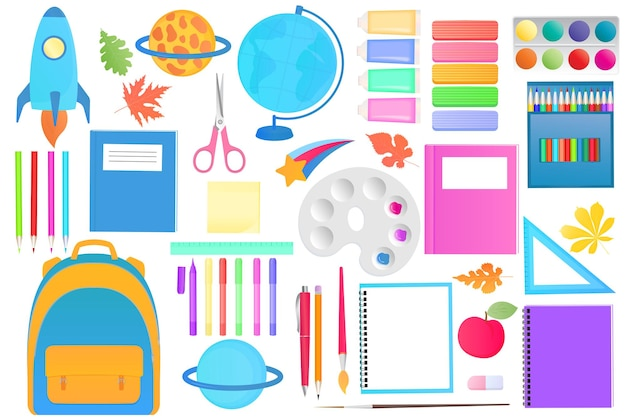 A large set of school supplies for home school decor. back to school
