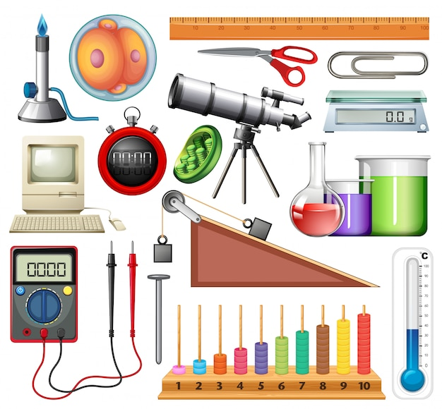 Large set of science equipments on white background