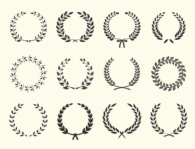 Large set of silhouettes laurel wreaths  vector illustration