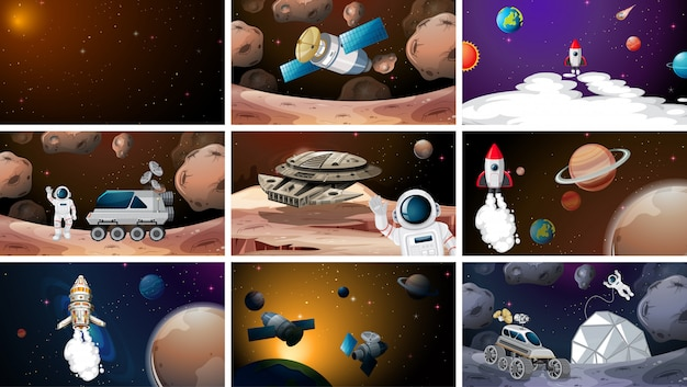 Large set of space scene or background