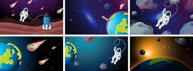Large set of space scenes illustrations