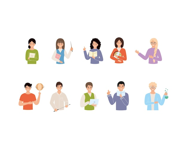 A large set of teachers in various subjects. set of characters for teacher's day. vector flat illustration on the theme of school and education.