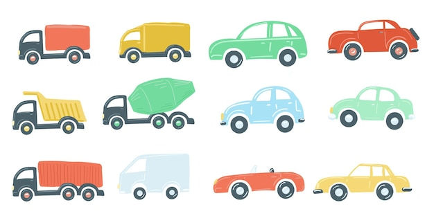 Large set of toy cars flat simple cartoon style hand drawing vector illustration