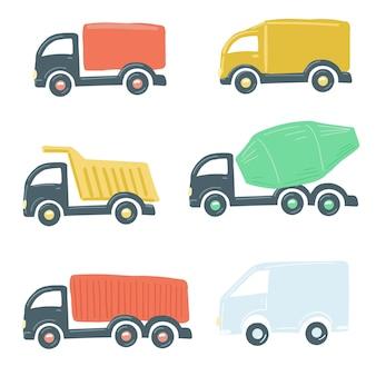 Large set of trucks flat simple cartoon style hand drawing vector illustration