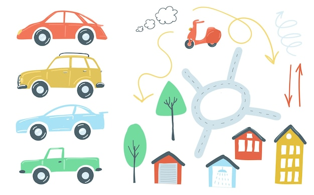 Large set of urban elements flat simple cartoon style hand drawing cars roads traffic lights vector