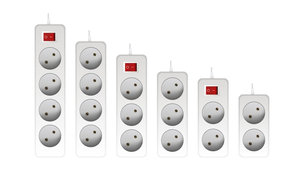 A large set of white extension cords with three outlets. portable socket. realistic style vector.