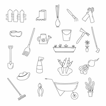 ガーデニングや植物の植え付けをテーマにしたアイコンが付いた大規模なセット。落書きスタイルのベクトルイラスト。