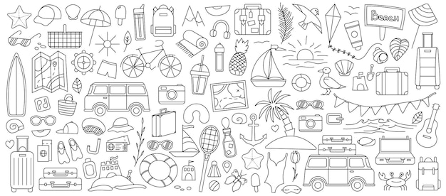A large set with things for traveling to the mountains and the sea. set of travel things on vacation. summer collection. vector line icon. editable stroke. doodle style.