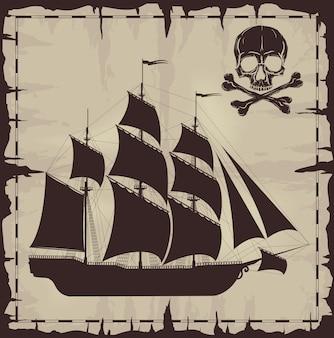 大型船と古い紙の上の頭蓋骨