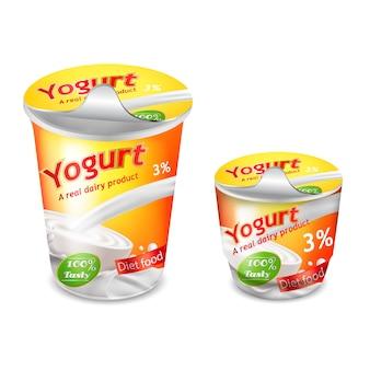 Large and small plastic cup for yogurt