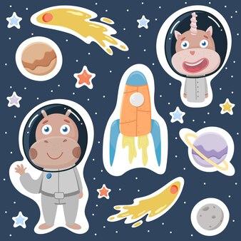 Большой космический набор. мультипликационный персонаж в простом рисованном скандинавском стиле.