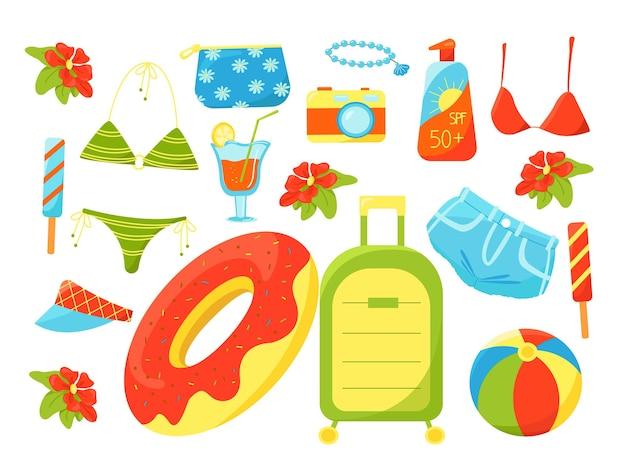 Большой летний набор праздничных предметов купальник чемодан для коктейля фотоаппарат косметолог отпуск на море