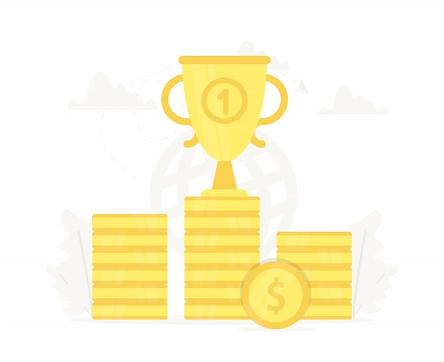Large trophy on gold coins podium.