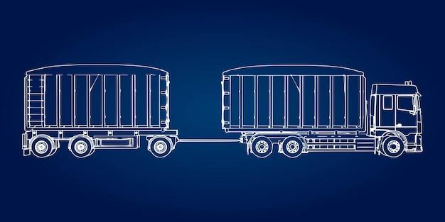 별도의 트레일러가 있는 대형 트럭으로 농업용 및 건축용 벌크 자재 및 제품 운송용.