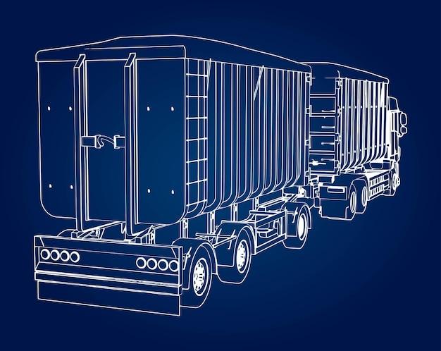 農業用および建築用のバルク材料および製品の輸送用の、独立したトレーラーを備えた大型トラック。