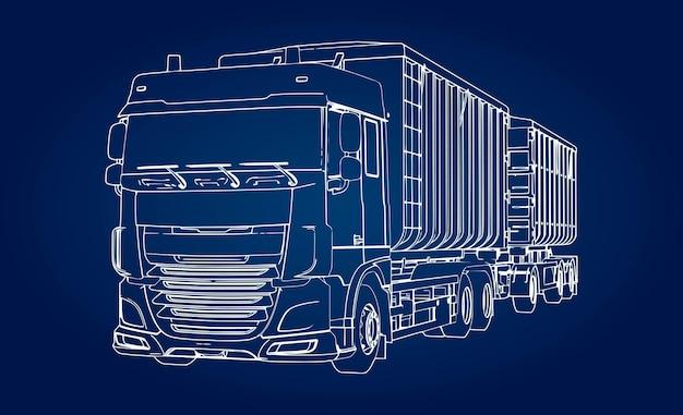 농업 및 건축용 벌크 자재 및 제품 운송을 위한 별도의 트레일러가 있는 대형 트럭.