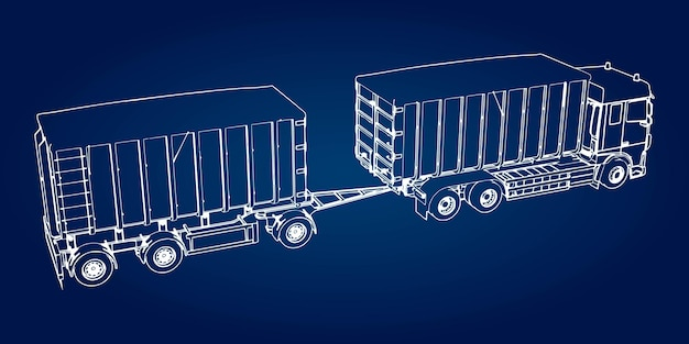 Large truck with separate trailer, for transportation of agricultural and building bulk materials
