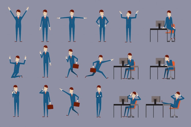 Large vector set of businessman character poses, gestures and actions. office worker professional standing, walking, talking on phone, working, running, delight, searching, and more.