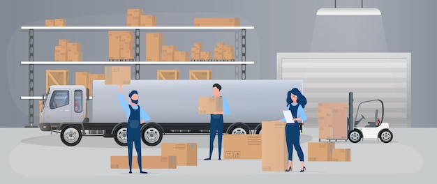 서랍이 있는 대형 창고. 이사업체는 상자를 운반합니다. 목록을 가진 소녀가 가용성을 확인합니다. 큰 트럭. 판지 상자. 운송, 배송 및 상품 물류의 개념. 벡터.