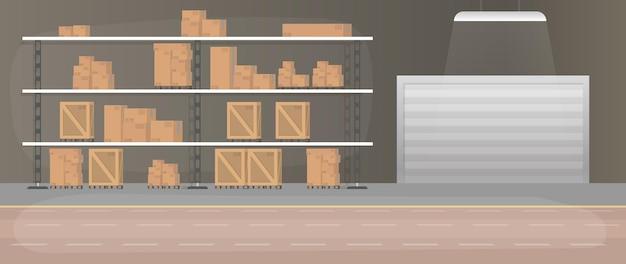 引き出し付きの大きな倉庫。引き出しとボックス付きのラック。カートンボックス。 。 Premiumベクター