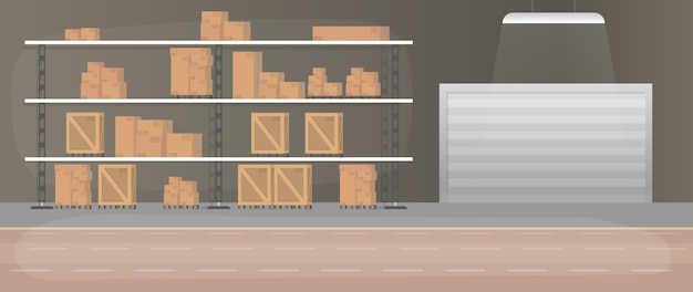 Large warehouse with drawers. rack with drawers and boxes. carton boxes. .