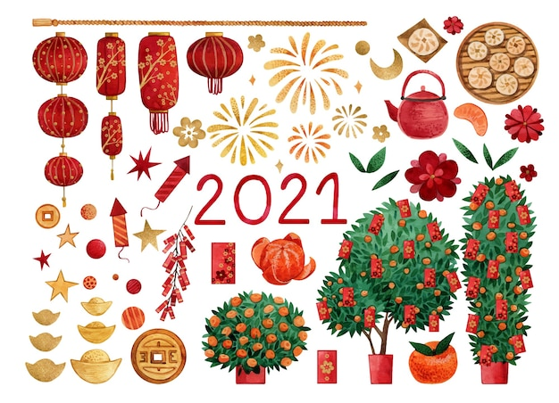 Large watercolor set for chinese new year with tangerine trees, red envelopes, lanterns and fireworks