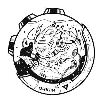 Larvalbot origin illustration and tshirt design