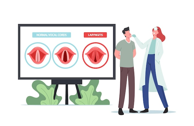 Laryngitis disease. tiny doctor and patient characters at huge infographics presenting normal and diseased vocal cords. bacterial or viral throat infection. cartoon people vector illustration