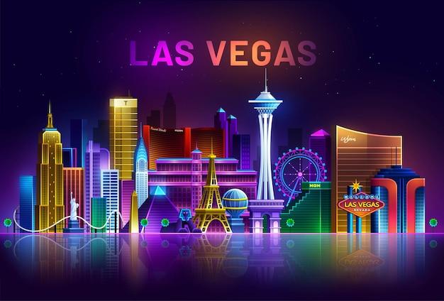 Лас-вегас, городской пейзаж невады, освещенный неоновыми огнями
