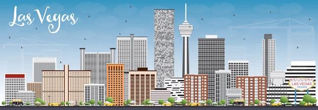회색 건물 및 푸른 하늘 라스 베이거스 스카이 라인.