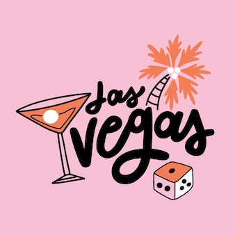Las vegas thematic lettering concept Free Vector