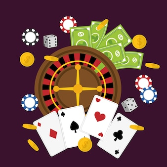 Концепция казино с дизайном иконок las vegas