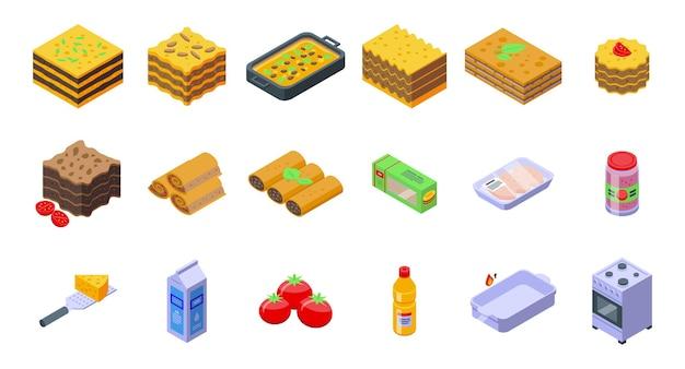라자냐 아이콘은 아이소메트릭 벡터를 설정합니다. 카넬로니 요리. 이탈리아 요리