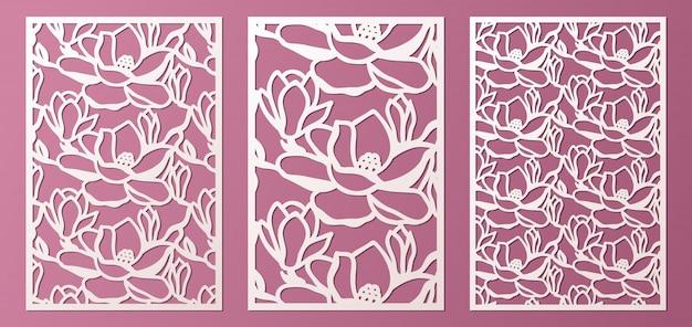 레이저와 다이 컷 목련 꽃의 패턴으로 설정 장식 패널 템플릿. 캐비닛 프렛 워크 패널. lasercut 금속 패널. 나무 조각.