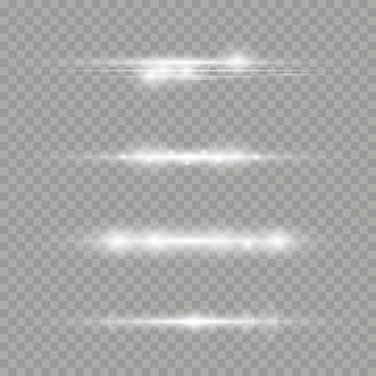 Laser beams, horizontal light rays. beautiful light flares. white glowing light explodes on a transparent background.