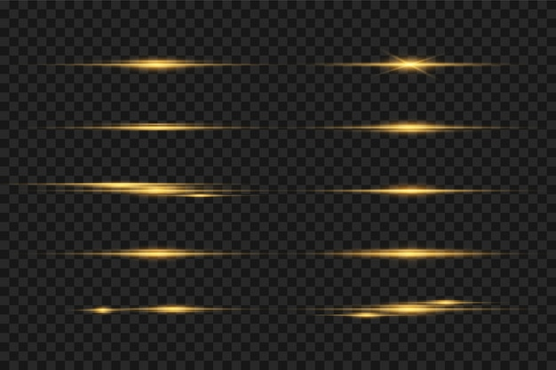 Laser beams, horizontal light rays. gold light flares. horizontal lens flares pack. sun rays. glowing light explodes on a transparent backgroun