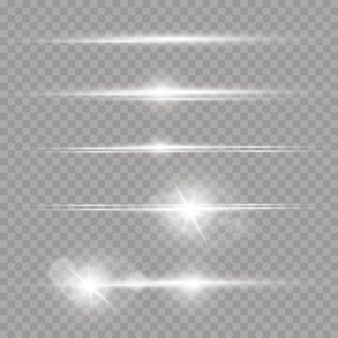 レーザー光線、水平光線白いレンズフレアのセット