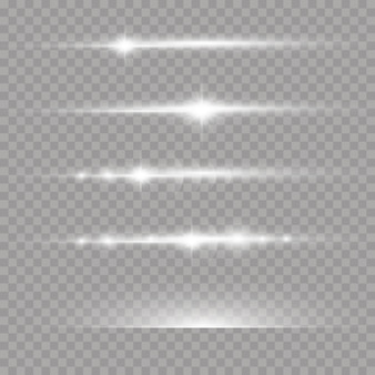 Laser beams, horizontal light rays set of white lens flares