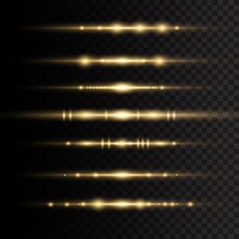 レーザー光線、水平光線。太陽の光。透明な背景に黄色の輝く光が爆発します。美しい光のフレア。